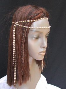 Women Gold Metal 80s Long Head Chain Imitation Peal Beads Fashion Jewelry