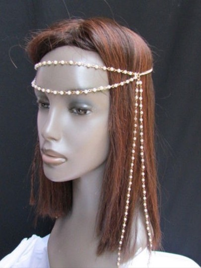 Other Women Gold Metal 80s Long Head Chain Imitation Peal Beads Fashion Jewelry