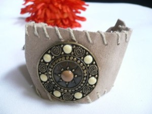 Other Women Beige Faux Suede Tie Native Style Gold Metal Bracelet Cream Brown Dots
