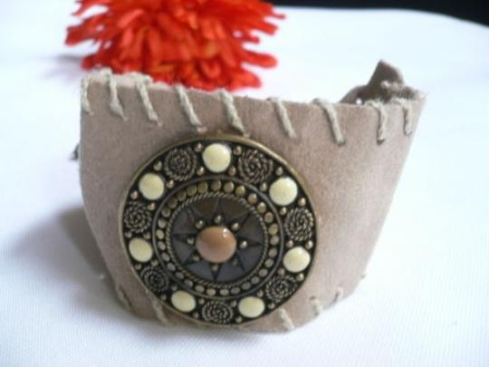 Other Women Beige Faux Suede Tie Native Style Bracelet Dots Image 0