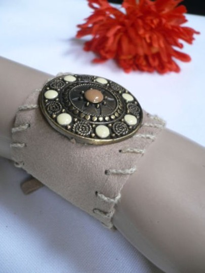 Other Women Beige Faux Suede Tie Native Style Bracelet Dots Image 1