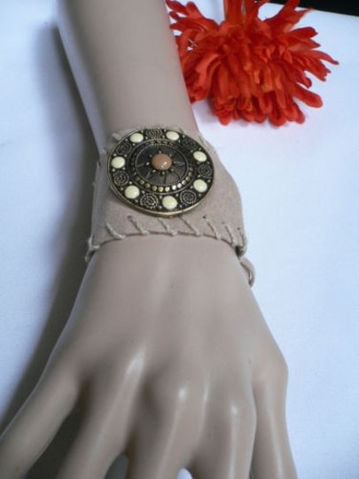 Other Women Beige Faux Suede Tie Native Style Bracelet Dots Image 2
