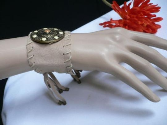 Other Women Beige Faux Suede Tie Native Style Bracelet Dots Image 3