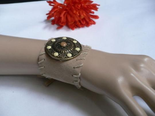 Other Women Beige Faux Suede Tie Native Style Bracelet Dots Image 4
