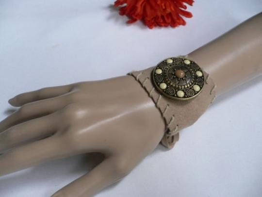 Other Women Beige Faux Suede Tie Native Style Bracelet Dots Image 5