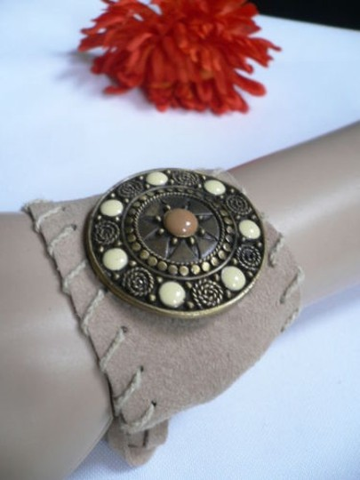 Other Women Beige Faux Suede Tie Native Style Bracelet Dots Image 7
