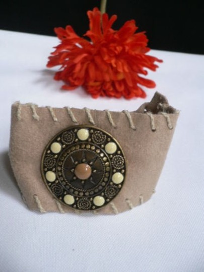 Other Women Beige Faux Suede Tie Native Style Bracelet Dots Image 8