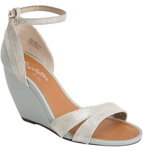 Seychelles Ankle Strap Wedge Sea Foam Green and Silver Wedges