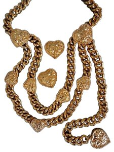 St. John St. John Gold Chain Link Heart Hip Waist Belt