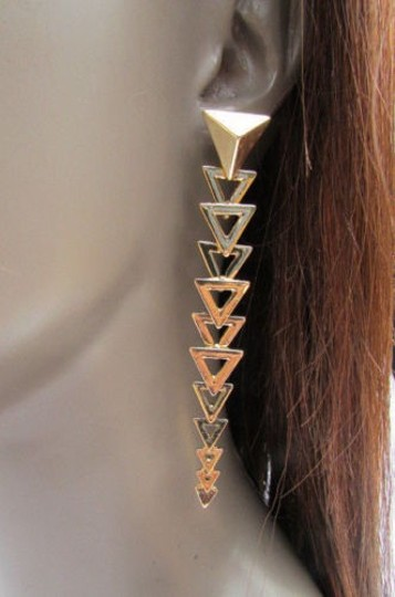 Other Women Gold Long Metal Chic Fashion Earrings Set Multi Mini Triangles Hook