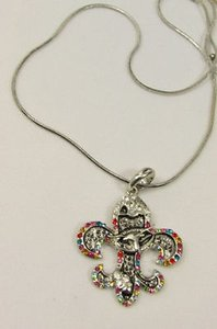 Women Silver Metal Fleur De Lis Charm Fashion Necklace Colorfull Rhinestones