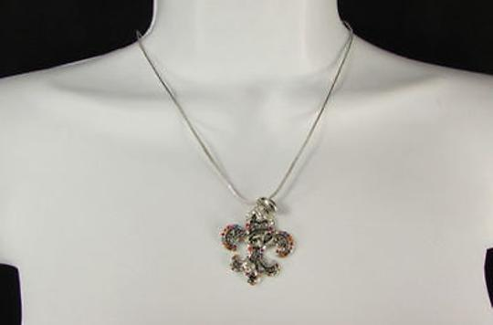 Other Women Silver Metal Fleur De Lis Charm Necklace Colorfull Rhinestones Image 1