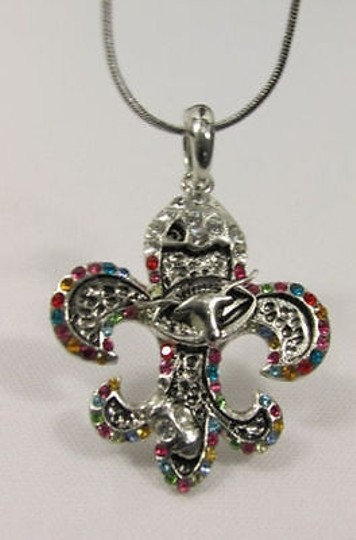 Other Women Silver Metal Fleur De Lis Charm Necklace Colorfull Rhinestones Image 3