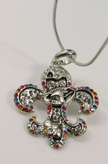 Other Women Silver Metal Fleur De Lis Charm Necklace Colorfull Rhinestones Image 5