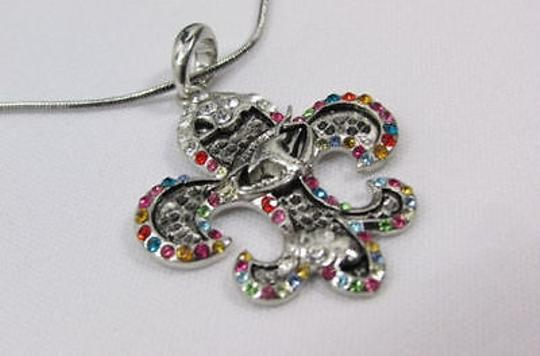 Other Women Silver Metal Fleur De Lis Charm Necklace Colorfull Rhinestones Image 7