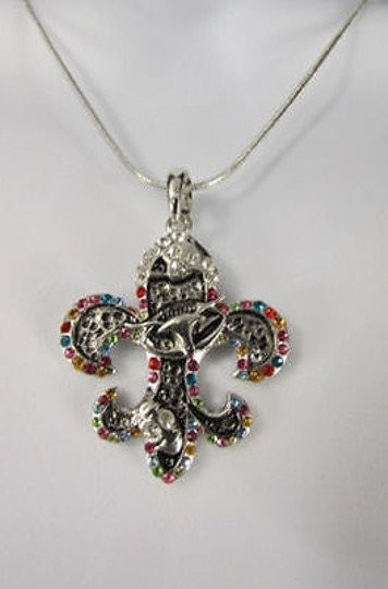 Other Women Silver Metal Fleur De Lis Charm Necklace Colorfull Rhinestones Image 8