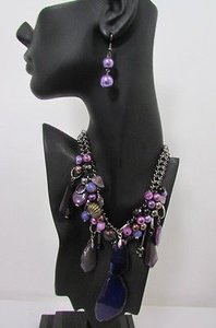 Women Metal Chains Purple Stone Charms Fashion Necklace Big Circles Beads