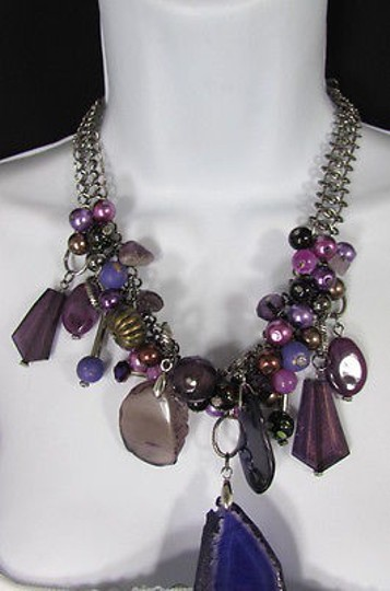 Other Women Metal Chains Purple Stone Charms Fashion Necklace Big Circles Beads Image 10