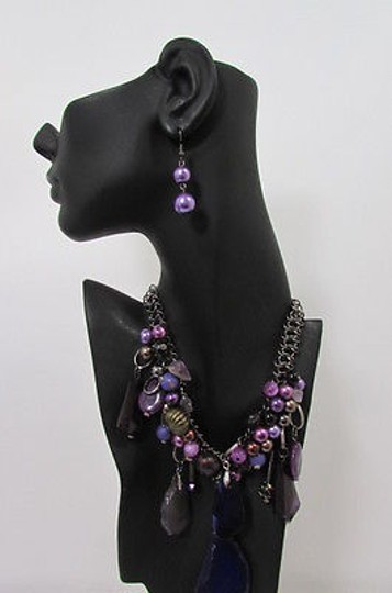 Other Women Metal Chains Purple Stone Charms Fashion Necklace Big Circles Beads