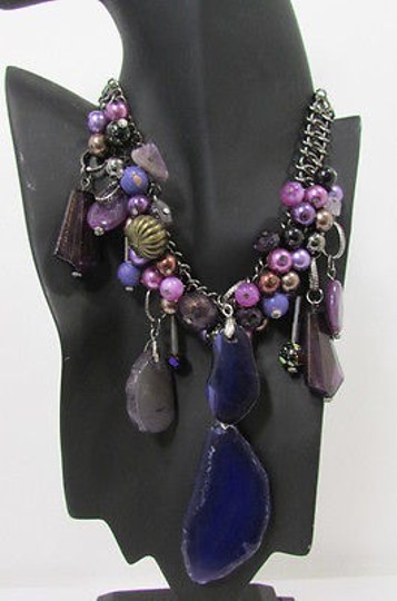 Other Women Metal Chains Purple Stone Charms Fashion Necklace Big Circles Beads Image 5