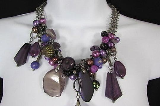Other Women Metal Chains Purple Stone Charms Fashion Necklace Big Circles Beads Image 6