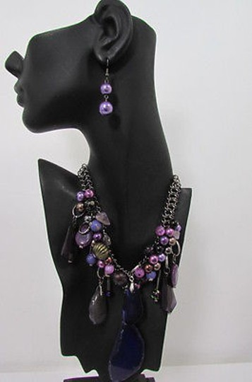 Other Women Metal Chains Purple Stone Charms Fashion Necklace Big Circles Beads Image 7