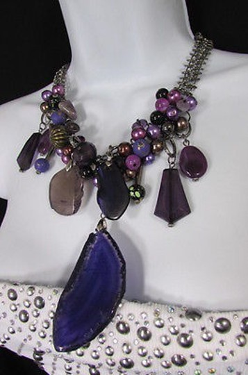Other Women Metal Chains Purple Stone Charms Fashion Necklace Big Circles Beads Image 8