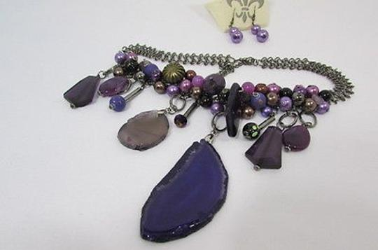 Other Women Metal Chains Purple Stone Charms Fashion Necklace Big Circles Beads Image 9