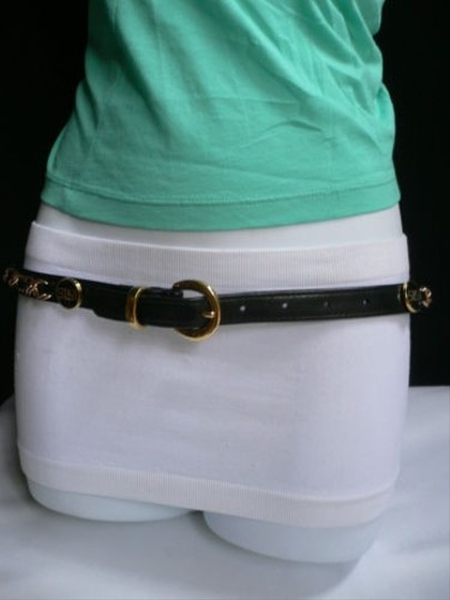 Other Women Black Hip Waist Thin Fashion Belt Gold Buckle Ring Chains 27-31 Sm
