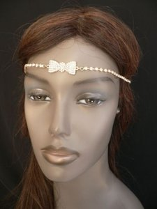 Women Gold Metal Bow Head Band Chain Rhinestones Circlet Fashion Jewelry
