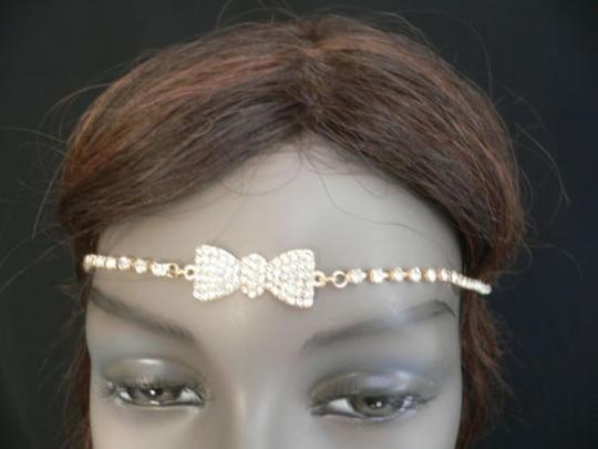 Other Women Gold Metal Bow Head Band Rhinestones Circlet Fashion Jewelry Image 1