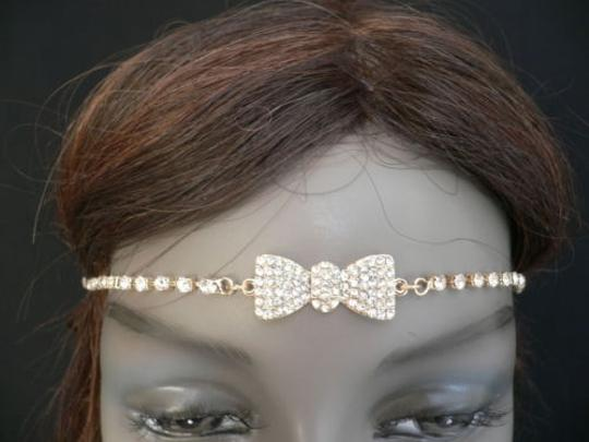 Other Women Gold Metal Bow Head Band Rhinestones Circlet Fashion Jewelry Image 11