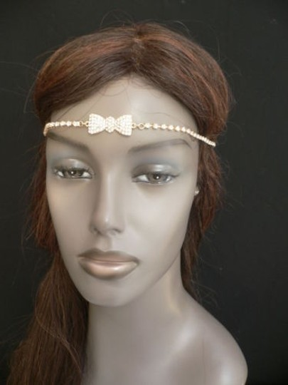 Other Women Gold Metal Bow Head Band Rhinestones Circlet Fashion Jewelry Image 3