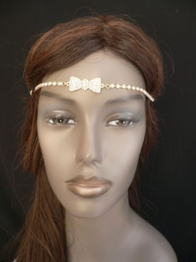 Other Women Gold Metal Bow Head Band Rhinestones Circlet Fashion Jewelry Image 6