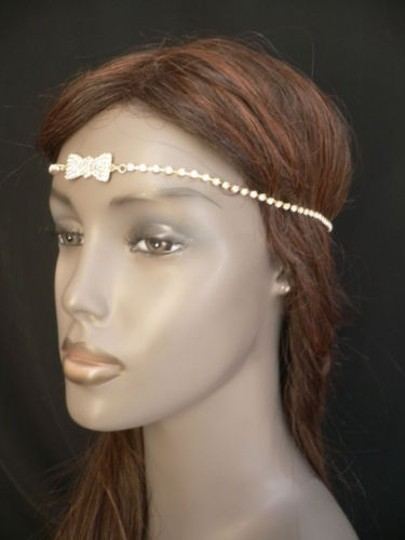 Other Women Gold Metal Bow Head Band Rhinestones Circlet Fashion Jewelry Image 8
