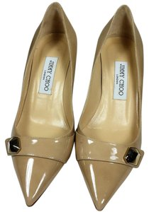 Jimmy Choo Patent Leather Studded Wear To Work Nude Pumps