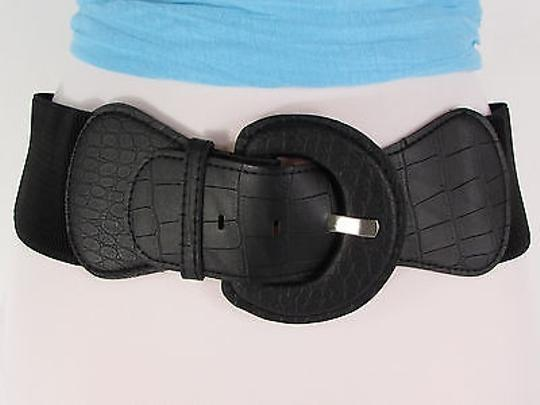 Other Women Stretch Belt Black Hip High Waist Faux Leather Buckle Image 10