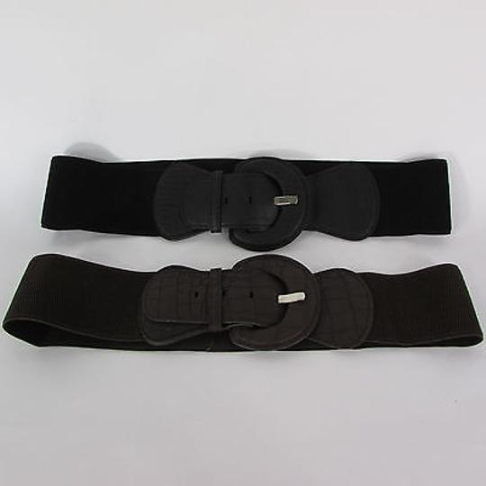 Other Women Stretch Belt Black Hip High Waist Faux Leather Buckle Image 11