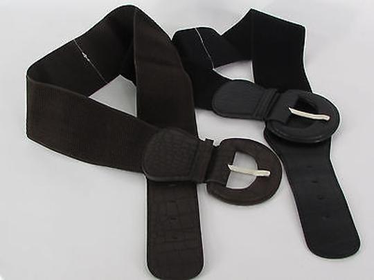 Other Women Stretch Belt Black Hip High Waist Faux Leather Buckle