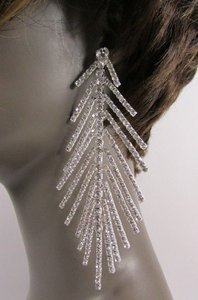 Women Fashion Long Wedding Earrings Set Metal Feather Silver Gold 5 Drop