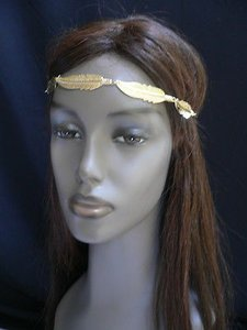 Other Women Big Gold Metal Long Feather Head Chain Band Fashion Jewelry Grecian
