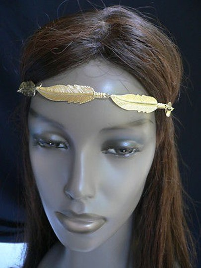 Other Women Big Gold Metal Long Feather Head Chain Jewelry Grecian Image 1