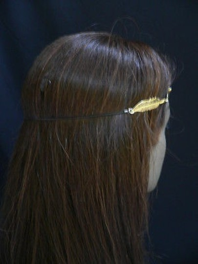 Other Women Big Gold Metal Long Feather Head Chain Jewelry Grecian Image 10