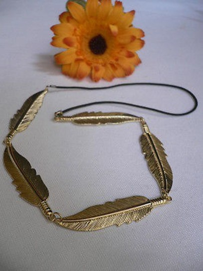 Other Women Big Gold Metal Long Feather Head Chain Jewelry Grecian Image 2