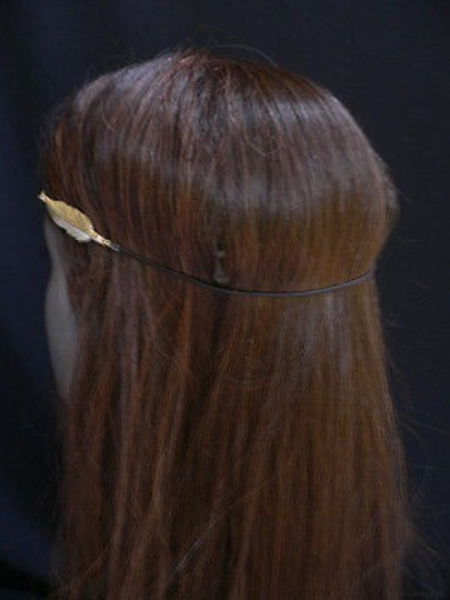 Other Women Big Gold Metal Long Feather Head Chain Jewelry Grecian Image 3