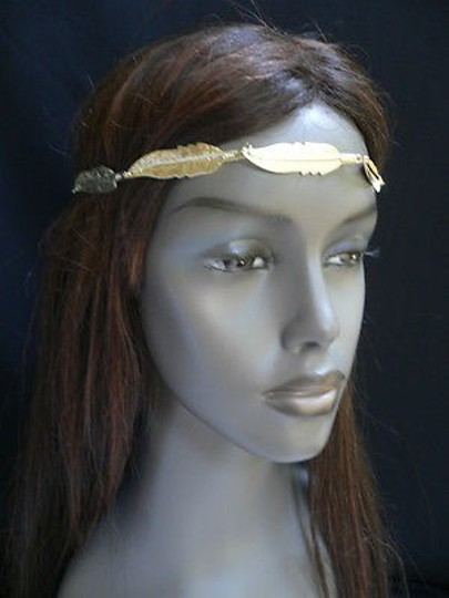 Other Women Big Gold Metal Long Feather Head Chain Jewelry Grecian Image 4