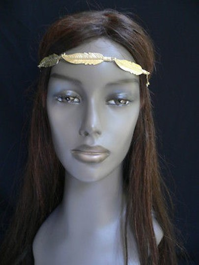 Other Women Big Gold Metal Long Feather Head Chain Jewelry Grecian Image 6