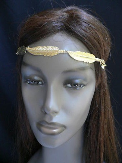 Other Women Big Gold Metal Long Feather Head Chain Jewelry Grecian Image 7