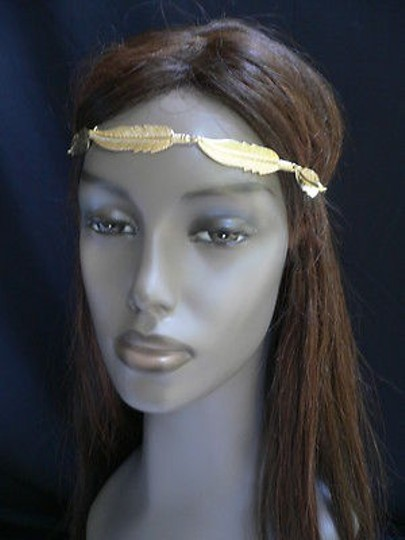 Other Women Big Gold Metal Long Feather Head Chain Jewelry Grecian Image 8