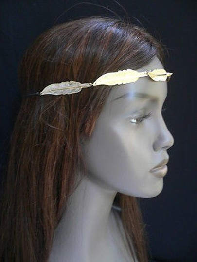 Other Women Big Gold Metal Long Feather Head Chain Jewelry Grecian Image 9